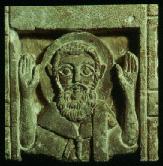 A praying monk. Coptic limestone relief (6th-7th cen.).