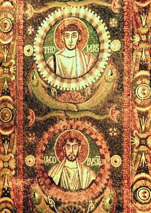 Οι απόστολοι Θωμάς και Ιάκωβος Αλφαίου. Ψηφιδωτό του 6ου αιώνα από την Ραβέννα.