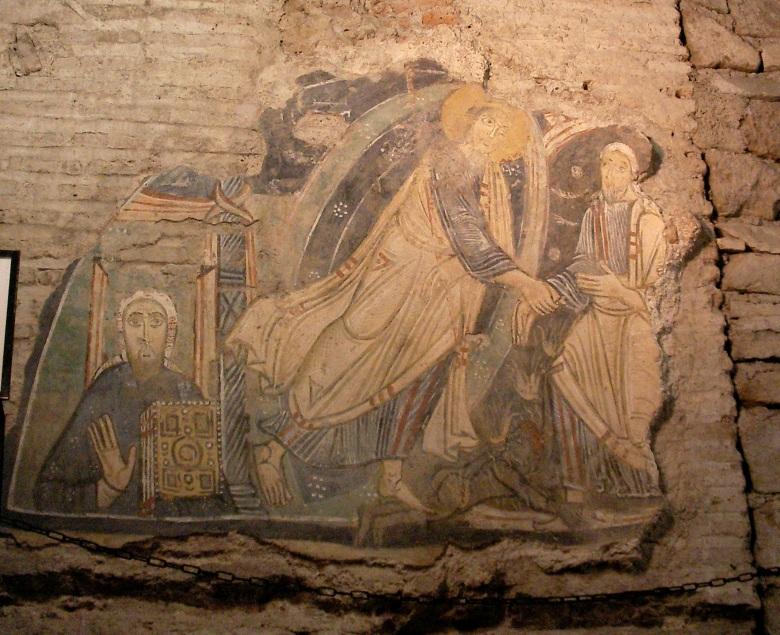 Η Ανάσταση του Χριστού. Ο Χριστός βγάζει τον Αδάμ από τον Άδη. Στα αριστερά ο άγιος Κύριλλος ο φωτιστής των Σλάβων. (Τοιχογραφία από την βασιλική San Clemente στην Ρώμη)