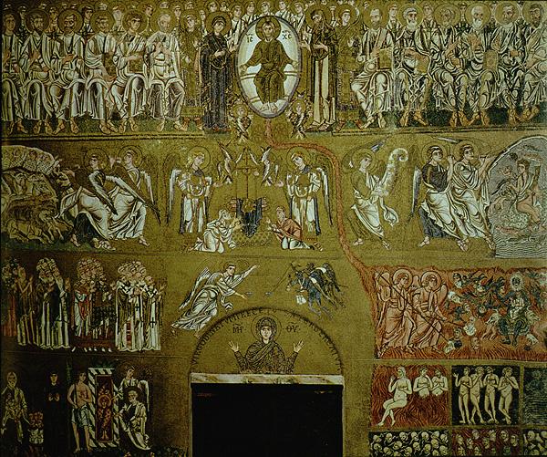 Η Ημέρα της Κρίσεως. Βυζαντινό ψηφιδωτό του 12ου αιώνα στο Torcello της Ιταλίας. Το γεγονός ότι ο Χριστός ξήρανε την συκιά την οποία βρήκε χωρίς καρπούς, μας δείχνει ότι έτσι θα καταδικαστεί όποιος δεν έχει αρετές να Του παρουσιάσει.