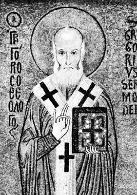 Ο Άγιος Γρηγόριος ο Θεολόγος (ψηφιδωτό του 12ου αιώνα). Παλέρμο, Capella Palatina.