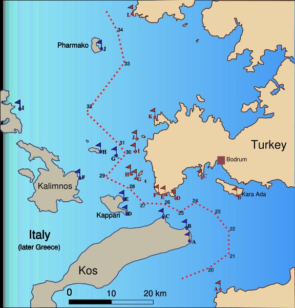 """Οριοθέτηση συνόρων του 1932. Το """"G"""" στην """"Ιταλική"""" (τότε) πλευρά, είναι τα ΙΜΙΑ"""