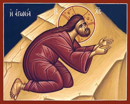 Η προσευχή του Χριστού στην Γεθσημανή. Εικόνα του αγιογραφείου της Μονής της Αγίας Μεταμορφώσεως στην Βοστώνη.