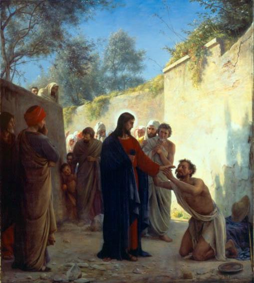 Ο Χριστός θεραπεύει τον τυφλό. Πίνακας του δανού ζωγράφου Carl Bloch (1834-1890).