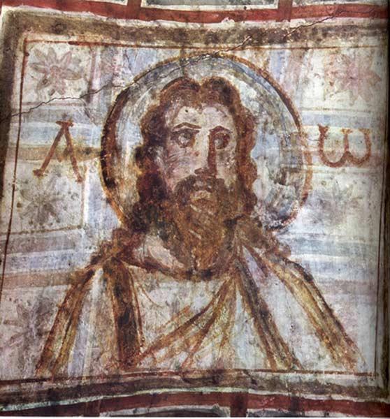 Ο Χριστός Παντοκράτωρ. Τοιχογραφία του 4ου αιώνα από την κατακόμβη της Κομοδίλλης στην Ρώμη.