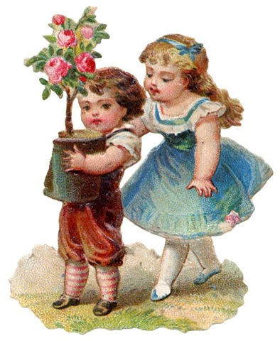 free-vintage-clip-art-mothers-day-litle-boy-and-girl-with-pink-rose-bush1