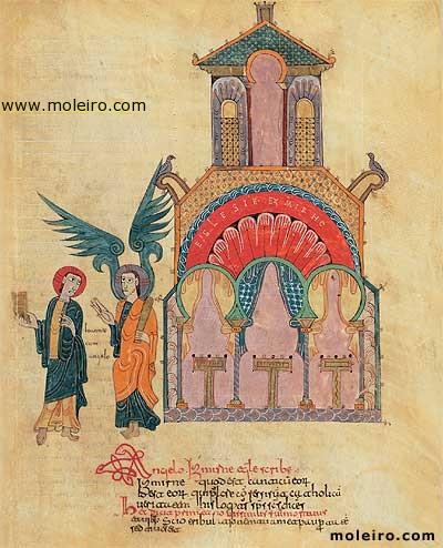 Το μήνυμα του Χριστού προς την εκκλησία στην Σμύρνη (όπου μαρτύρησε ο άγιος Αλέξανδρος) (Αποκάλυψις Ιωάννου Β' 8-11). Μικρογραφία από (ορθόδοξο) ισπανικό χειρόγραφο του 10ου αιώνα περίπου.