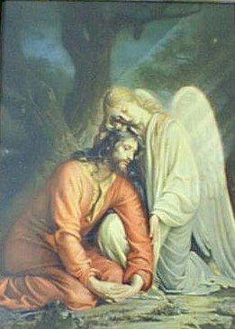 """Η αγωνία του Χριστού στην Γεθσημανή. Πίνακας του δανού ζωγράφου Carl Bloch. """"Ώφθη (=παρουσιάστηκε) δέ αυτώ άγγελος απ' ουρανού ενισχύων αυτόν."""" (Κατά Λουκάν κβ΄ 43)"""