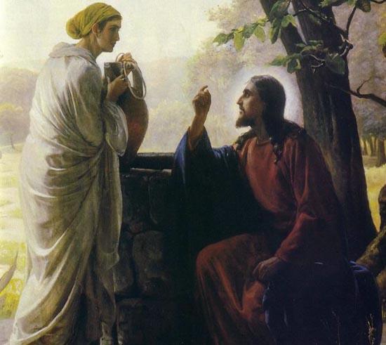Ο Χριστός συνομιλεί με την Σαμαρείτιδα. Από πίνακα του δανού ζωγράφου Carl Bloch (1834-1890).
