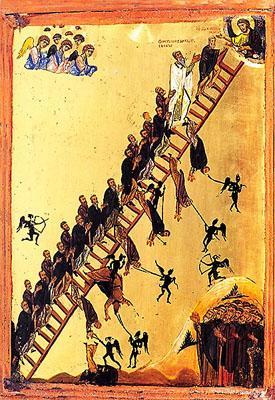 Η Ουρανοδρόμος Κλίμαξ. Εικόνα του 12ου αιώνα από την Μονή του Σινά. Βλέπουμε ανθρώπους να προσπαθούν να ανέβουν την σκάλα των αρετών προς τον Θεό, ενώ οι δαίμονες με τα πάθη προσπαθούν να τους τραβήξουν κάτω και σε ορισμένες περιπτώσεις το καταφέρνουν.