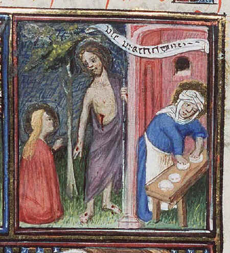 Ο Χριστός με την Μάρθα και την Μαρία. Μικρογραφία από δυτικό χειρόγραφο (1410).