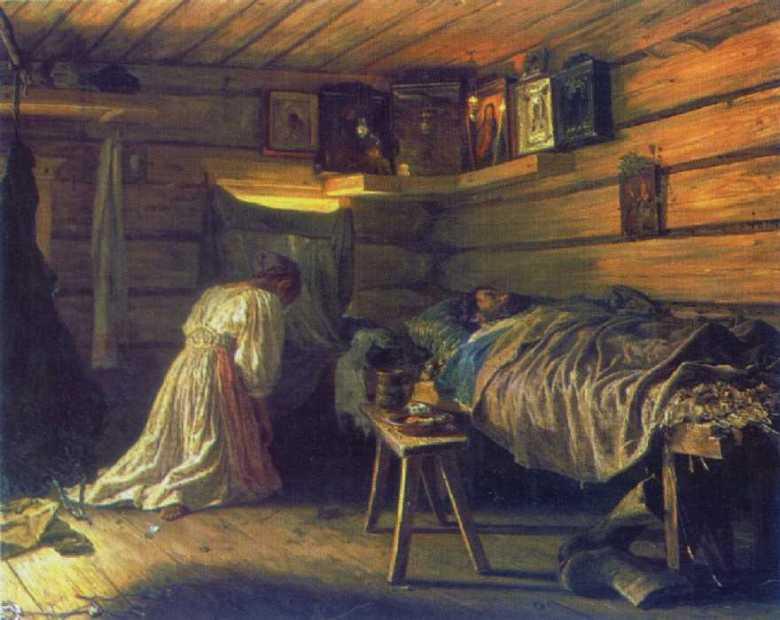 Ο άρρωστος σύζυγος. Vassily Maximov (1881)