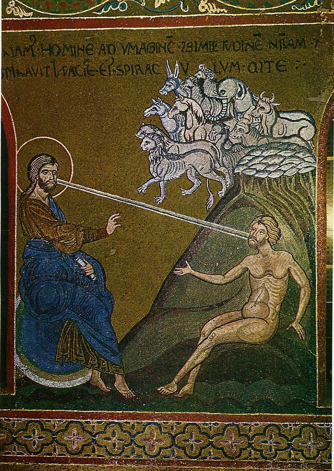 Η δημιουργία του Αδάμ. Βυζαντινό ψηφιδωτό του Καθεδρικού του Monreale στην Σικελία (12ος αιώνας).