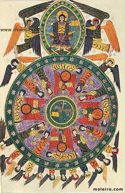 Η Προσκύνηση του Αρνίου (Αποκάλυψη, κεφ. 4-5). Μικρογραφία από (ορθόδοξο) ισπανικό χειρόγραφο του 10ου αιώνα περίπου