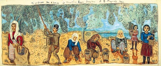 Τοιχογραφία του ζωγράφου της Ρωμιοσύνης, Θεόφιλου Χατζημιχαήλ (1870-1934).