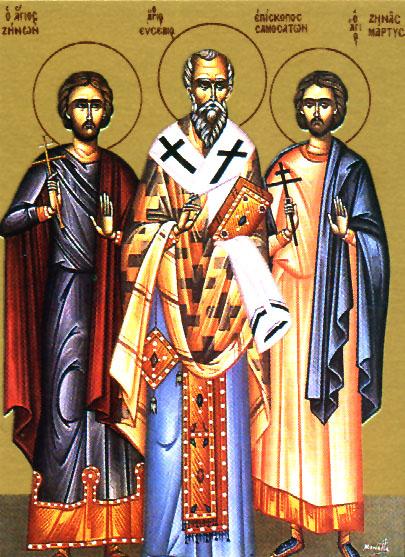 A modern greek icon depicting Saints Zenon, Eusebius and Zenas