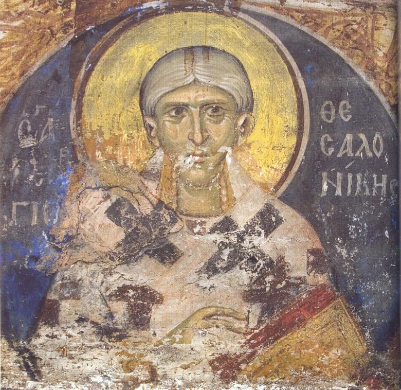 Ο άγιος Γεώργιος Θεσσαλονίκης. Τοιχογραφία βορείου τοίχου προθέσεως Καθολικού Ι.Μ.Μ. Βατοπαιδίου