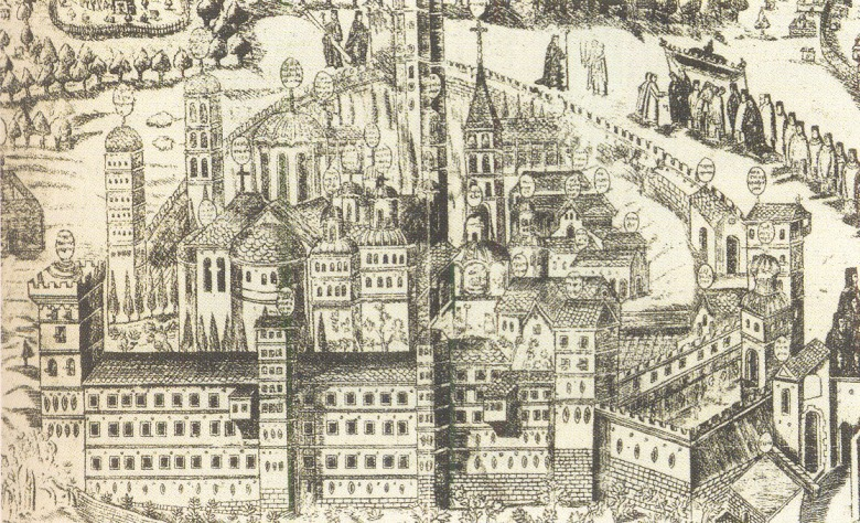Η ΙΜΜ Βατοπαιδίου σε χαλκογραφία (1769).