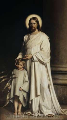 Ιησούς και παιδί. Έργο του Δανού ζωγράφου Carl Bloch (1834-1890).