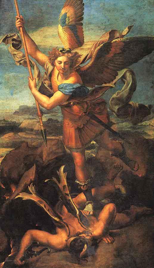 Ο αρχάγγελος Μιχαήλ πατάσσει τον διάβολο. Πίνακας του ιταλού ζωγράφου Rafaello Sanzio (1518). Παρίσι, Μουσείο του Λούβρου.