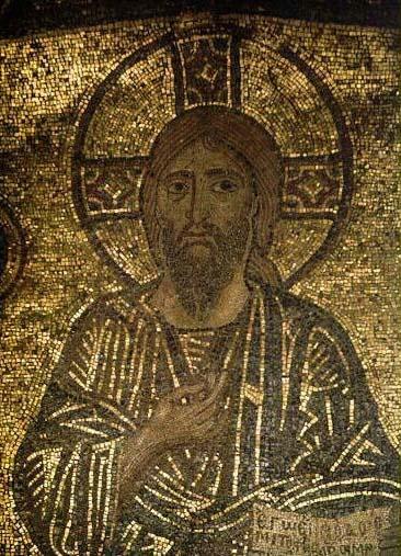 Λεπτομέρεια από ψηφιδωτό της Δεήσεως, στο καθολικό της Ι.Μ.Μ.Βατοπαιδίου (11ος-12ος αιώνας).