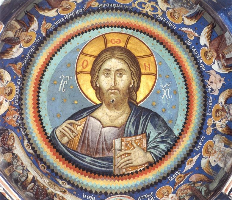 Ο Παντοκράτωρ. Τοιχογραφία στον τρούλλο του παρεκκλησίου του αγίου Νικολάου. Μονή Βατοπαιδίου.