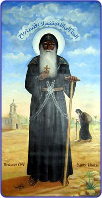 Ο αββάς Μωυσής ο μαύρος (περ. 330-405). Ήταν μοναχός στην αιγυπτιακή έρημο.  Σύγχρονη κοπτική εικόνα.
