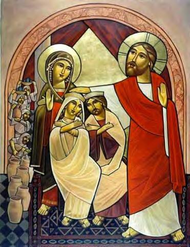 Ο Χριστός και η Παναγία ευλογούν το ζευγάρι. Σύγχρονη Κοπτική εικόνα.