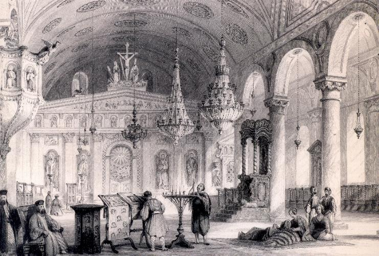 Το εσωτερικό του Ι.Ν. Ζωοδόχου Πηγής στην Κωνσταντινούπολη, πριν την καταστροφή του.