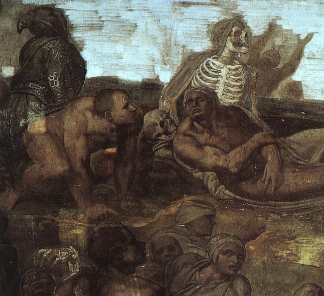 Η τελική κρίση. Λεπτομέρεια από την γνωστή τοιχογραφία του Μικελάντζελο στην Καπέλλα Σιξτίνα.