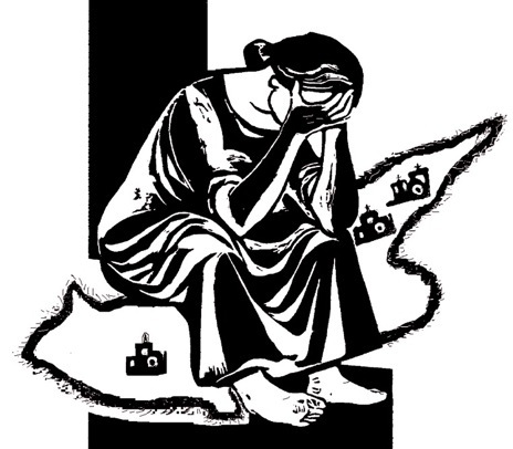 Cypriot woman grieving