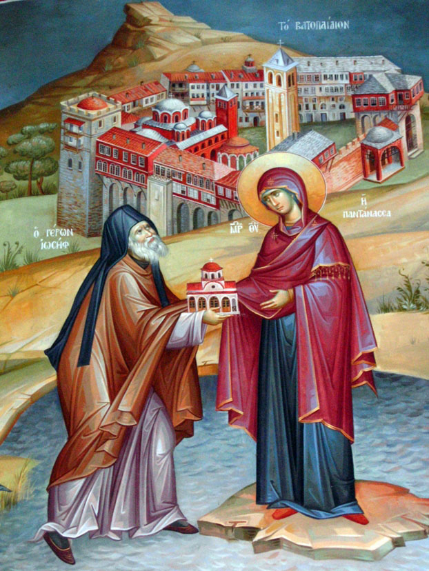 Ο Γέροντας Ιωσήφ προσφέρει στην Παναγία το εκκλησάκι της στην λίμνη Βιστωνίδα. Λεπτομέρεια από τοιχογραφία του ναού της Παναγίας Παντανάσσης στο ευλογημένο μετόχι της Ιεράς Μεγίστης Μονής Βατοπαιδίου στην λίμνη Βιστωνίδα.