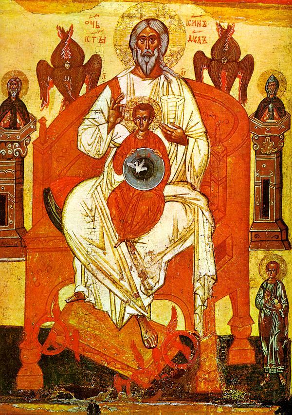 Η Αγία Τριάδα. Ρωσική εικόνα των τελών του 14ου αιώνα από το Νόβγκοροντ.