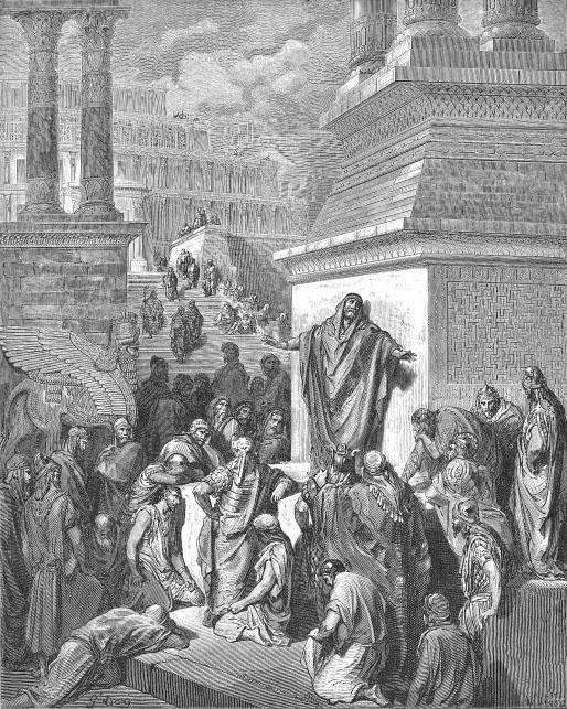 Ο Ιωνάς κηρύττει την μετάνοια στους Νινευίτες. Χαρακτικό του γάλλου Gustave Dore (1832-1883).