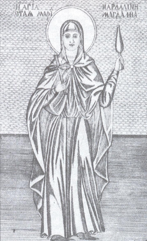 """Η Αγ. Μαρία η Μαγδαληνή. Λεπτομέρεια χαλκογραφίας του 1870 με τη Μονή Σιμωνόπετρας. Από το βιβλίο του Παταπίου Μοναχού Αγιορείτου, """"Αγία Μαρία η Μαγδαληνή: Αυτή που αγάπησε πολύ"""", εκδ. Τέρτιος, 2005."""