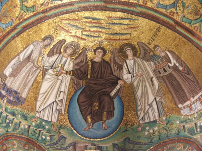 Ο Χριστός στεφανώνει τον άγιο Βιτάλιο στον παράδεισο. Ψηφιδωτό πάνω από το ιερό στην εκκλησία του Αγίου Βιταλίου στην Ραβέννα (6ος αιώνας).