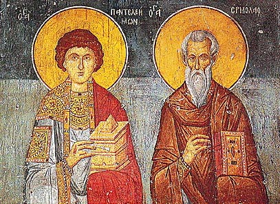 Saints Panteleimon and Hermolaus. Byzantine wall-painting of the late 13th century at the Church of Panagia Olympiotissa at Elassona, Greece.