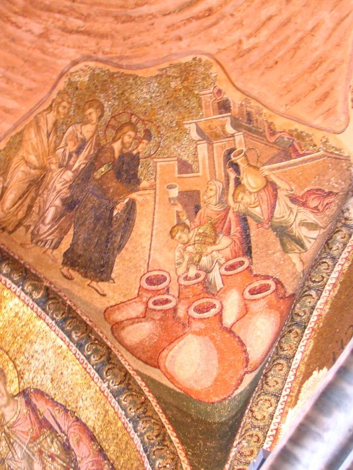 Το θαύμα στον Γάμο της Κανά. Ψηφιδωτό της εποχής των Παλαιολόγων στην Μονή της Χώρας στην Κωνσταντινούπολη.