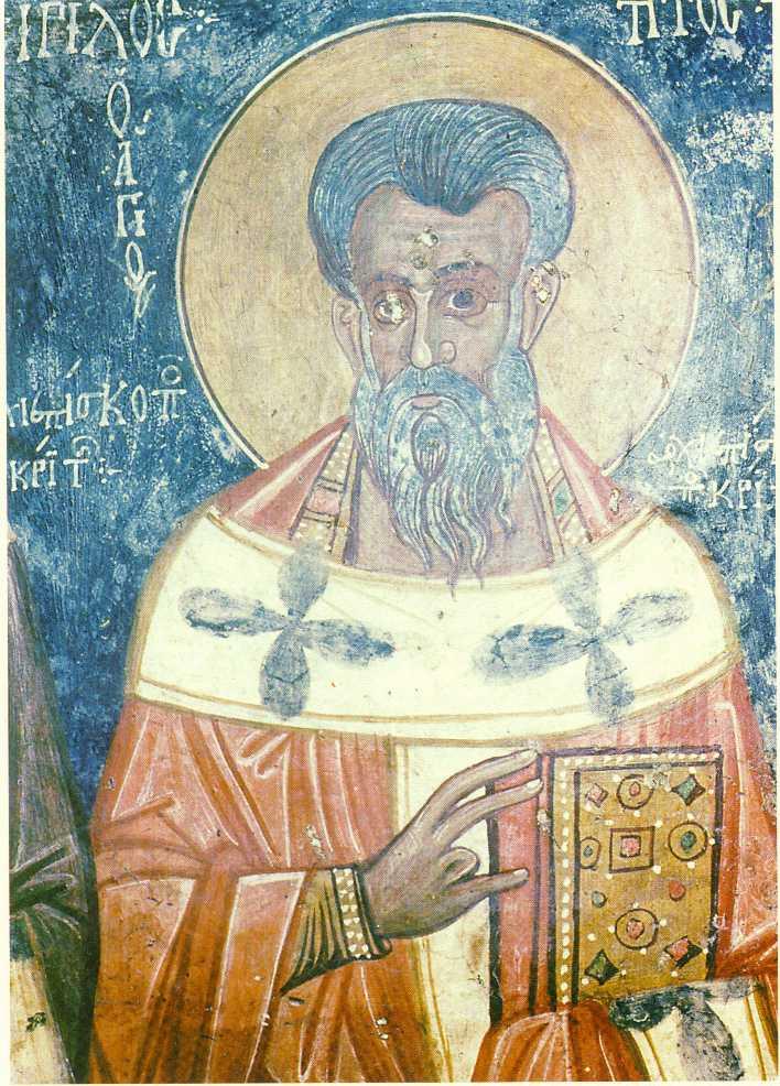 ;Aγιος Τίτος, Πρώτος Αρχιεπίσκοπος Κρήτης. Τοιχογραφία του 1327 από παλιά Εκκλησία της Κρήτης.