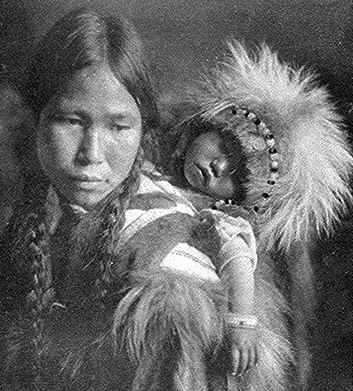 alaskan eskimo mother and child