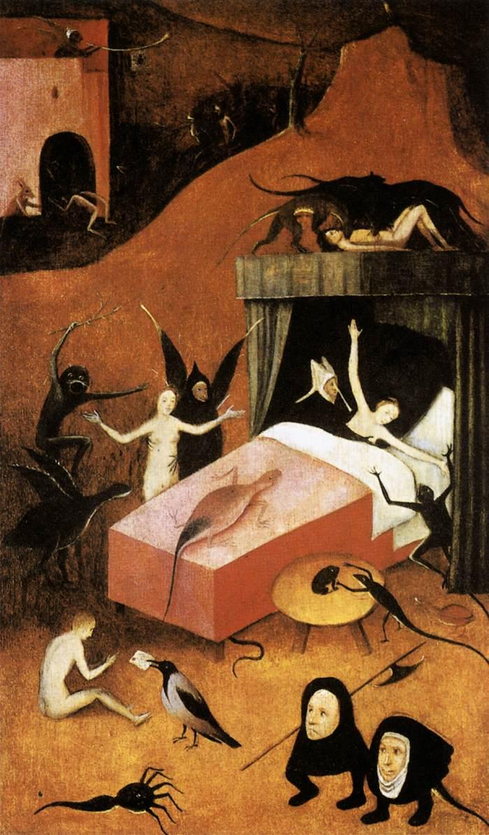 Οι δαίμονες παίρνουν την ψυχή ενός αμαρτωλού. Λεπτομέρεια από πίνακα του Hieronymus Bosch.
