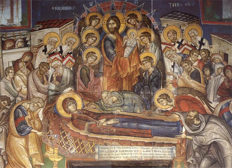 Η Κοίμηση της Θεοτόκου. Τοιχογραφία καθολικού Ι.Μ. Βατοπαιδίου (1312).