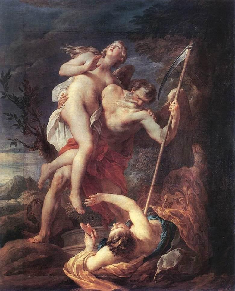 Ο Χρόνος σώζει την Αλήθεια από τον Φθόνο και την Ψέμμα. Έργο του Γάλλου ζωγράφου  Francois Lemoyne, 1737