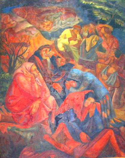Pogrom. Painting of Manuil Shechtman 1927