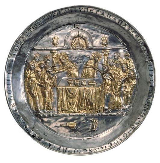 Το αργυρεπίχρυσο Δισκάριο της Riha, με απεικόνιση του Χριστού που δίνει την θεία κοινωνία στους αποστόλους. περ. 565-578.  Byzantine Collection, Dumbarton Oaks, Washington DC