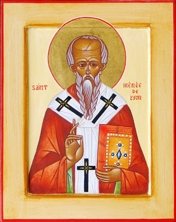 A modern-day Byzantine Orthodox icon of St Irenaeus.