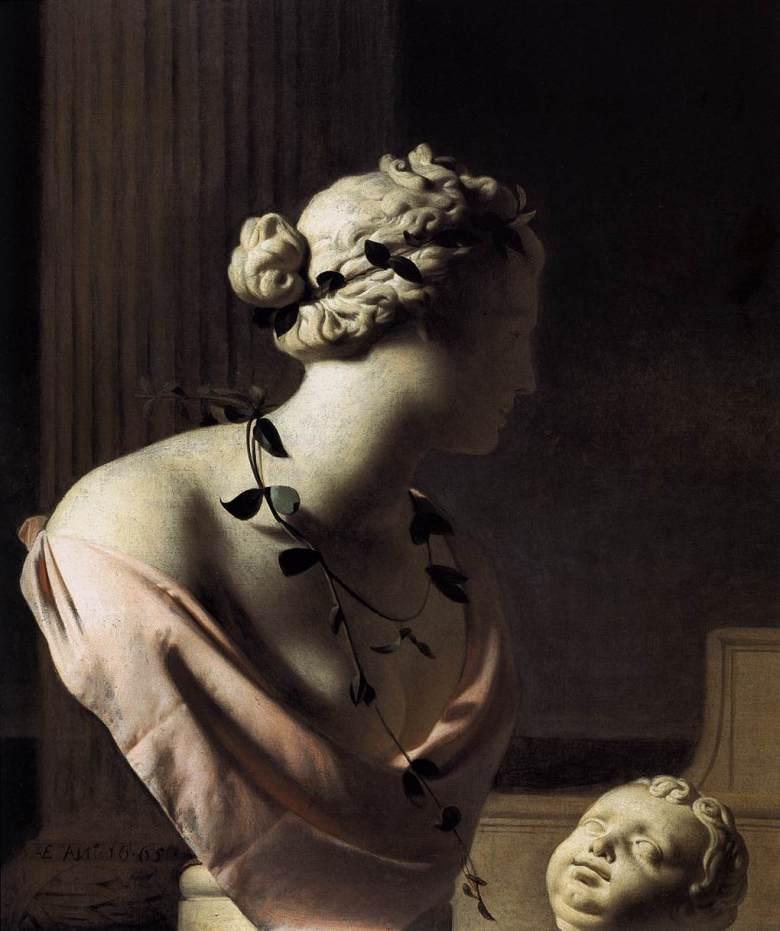 still life with a bust of venus caesar van everdingen