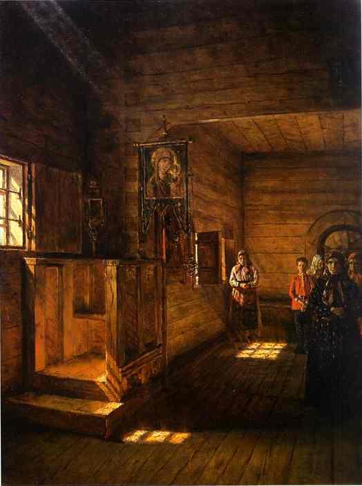Interior of the Church of St. John the Evangelist on the Ishna, near Rostov Yaroslavsky. Painting of Vasili Vasilyevich Vereshchagin 1888