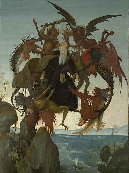 The Torment of Saint Anthony. painting of Michelangelo c. 1487-88