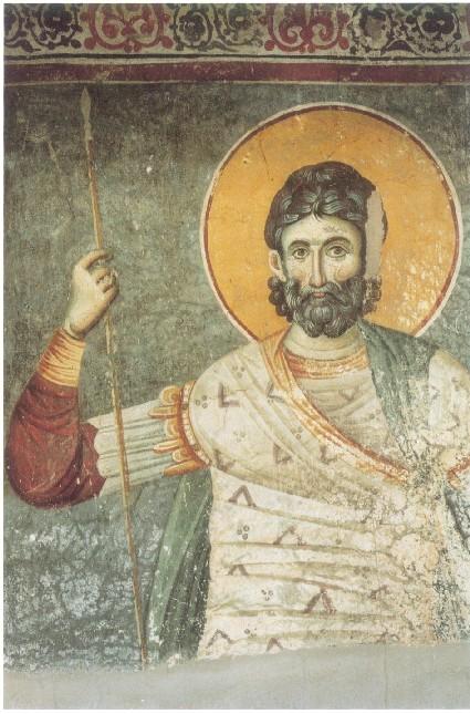 Ο Άγιος Ευστάθιος. Έργο του Εμμανουήλ Πανσέληνου στο Πρωτάτο στις Καρυές του Αγίου Όρους